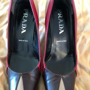 PRADA Classic Leather Tri-Color Pumps